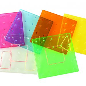 "6"" Transparent Rainbow Colored Geoboards, 5X5 Pin Array, Set of 6"