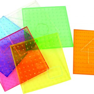 "9"" Transparent Rainbow Coloured Geoboards, 11X11 Pin Array, Set of 6"