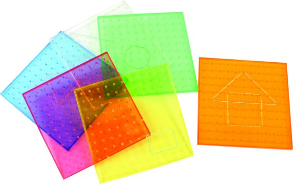 """9"""" Transparent Rainbow Coloured Geoboards, 11X11 Pin Array, Set of 6"""