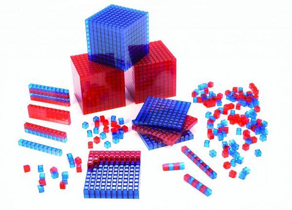Clearview Base Ten Blocks, Interlocking Cubes, Blue